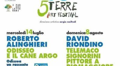 Catello di Riomaggiore – la nuova edizione del 5 Terre Art Festival, con Roberto Alinghieri in Odisseo e il cane Argo